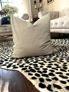 Pottery Barn Euro Pillow Cover 24x24 Classic Ticking Stripe Black Cream