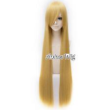 100CM Long Blonde Straight Hair Lolita Lady Anime Cosplay Wig + Free Cap