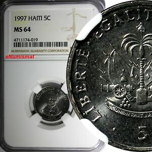 Haiti 1997 5 Centimes NGC MS64 Charlemagne Peralte Magnetic KM# 154a