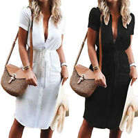 Womens Boho Short Sleeve V Neck Midi Dress Ladies Summer Short T-Shirt Dresses