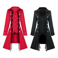 Womens Steampunk Gothic Long Tailcoat Punk Medieval Tail Jacket Costume Suit