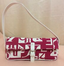Burberry Shoulder Bag Clutch Purse Pink White Monogrammed Made In Italy