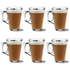 PACK OF 6 LATTE GLASSES COFFEE TEA CAPPUCCINO GLASS 240ml MUGS HOT DRINK CUPS