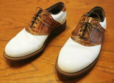 Footjoy Classics Dry Premiere Golf Shoes 50603 White/Brown Croc Saddle 8.5D