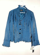 NWT Adrianna Papell Arc Blue Shimmer Ruffled Pleated Jacket Size 16 Reg  $139.00
