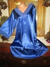 Amourese Royal blue lacy Satin Nightgown Sleepshirt Crossdresser lingerie size L