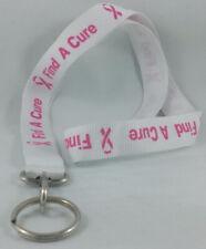 Pink Ribbon Breast Cancer Awareness Lanyard ID Badge Holder Key Chain