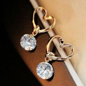 Rhinestone Heart Earrings Stud Dangle Crystal Wedding Party Women Fashion Gift
