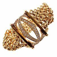 Authentic! Cartier Penelope 18k Yellow Gold Diamond Double C 5 Row Link Bracelet