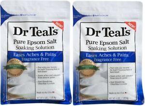 (Pack of 2) Dr Teals Pure Epsom Salt Soaking Solution Fragrance Free 4 Lb