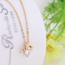 1 Vergoldet 18K Charm Halskette Kette Halsschmuck Weiß Zirkon Engel Anhänger