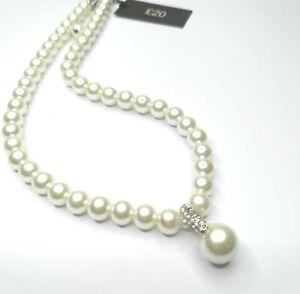 Perlen Anhänger Halskette Silber Ton faux Perlen Halskette