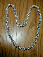 """Sterling Silver 6mm Byzantine Link Necklace - 18"""" ~Signed 925 Milor Italy"""