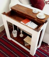 Tavolino da divano salotto caffè in legno massello Noce Bianco con Contenitore