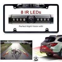 Night Vision 8 LED IR Car Rear View Backup Camera License Plate Frame Cam CMOS