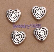 50pcs Tibetan Silver Double-Sided Charms Heart Spacer Beads 8x9mm F3089