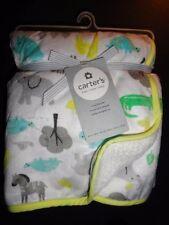 NWT Carter's Safari Elephant Zebra Unisex Velour Sherpa White Blanket Girls Boy