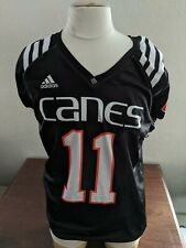 University of Miami Hurricanes adidas Black #11 Practice Jersey Game Worn Large