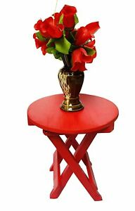 Beautiful Wooden Folding Side Table (13×12×12 inches) (Red) Furniture