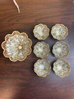 Lovely Antique Nippon Hand-Painted Moriage Master Berry & Six Small Bowls NICE!