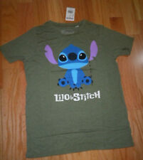 Disneys Lilo & Stitch Small Juniors T-Shirt Green Poly Rayon Blend Short Sleeves