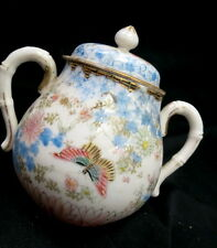 early Chinese export 1820 to 1850 era / covered jar / signed / with butterflies