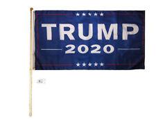 5' Wood Flag Pole Kit Wall Mount Bracket With 3x5 Trump Blue 2020 Polyester Flag