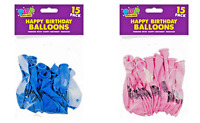 Happy Birthday Durable Latex Balloons - Pink and Blue 15 Pack
