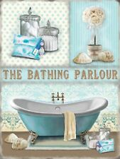 Bathing Parlour Bathroom Shabby Chic Home Gift Large Metal/Steel Wall Sign