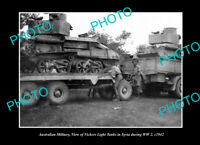 OLD LARGE HISTORIC PHOTO AUSTRALIAN MILITARY SOLDIERS WITH VICKERS TANK c1942