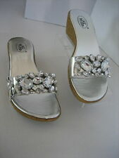 Bolaro Women's Silver Rhinestone Wedge Mid Heel Slip On Shoes Sz 7 1/2 New Box