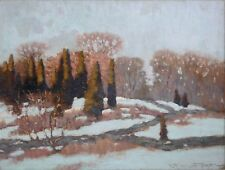 ROBERT EMMETT OWEN-Boston Impressionist-Original Signed Oil-Winter Landscape
