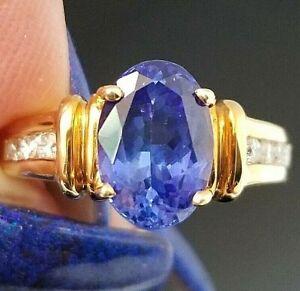 3TCW Vivid Blue Tanzanite VS Diamond 18k yellow gold ring
