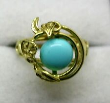 Unusual Design 18 carat Gold Large Turquoise Dress Ring Size N.1/2