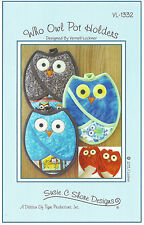 Who Owl Pot Holders, DIY Sewing Pattern, Susie C Shore Fat Quarter Friendly