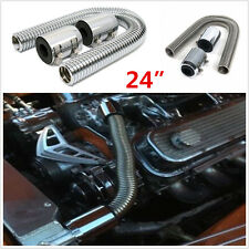 "24"" Car Stainless Steel Chrome Radiator Flex Coolant Water Hose Kit+Chrome Caps"