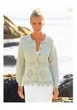 """Knitting Pattern Ladies Summer Cardigan Diamond Detail PATTERN ONLY 32-42"""" #si56"""