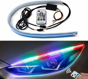 2x 24in LED Headlight Surface Flexible Strip RGB Multi Color DRL Neon Tube Light