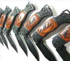 Engraved Wood Pocket Folding Knife with black blade FREE ENGRAVING