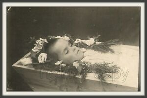 1920s Post mortem Funeral of handsome young boy Dead child Coffin antique photo