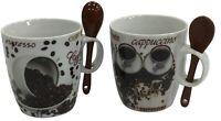 Set of 4 Colourful Coffee Tea Mugs Cappuccino Mugs 180ml With Spoon