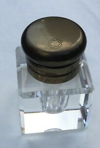 Montblanc Handcut Lead Crystal Inkwell Germany Brass Top Perfect!