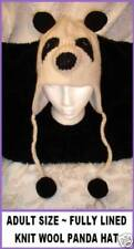 deLux PANDA HAT knit ski cap ADULT costume LINED toque beanie unisex Leather Tag