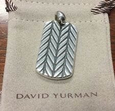 David Yurman Men's Modern Chevron Dog Tag Pendant Enhancer Sterling Silver NEW