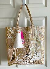 LILLY PULITZER REVERSIBLE SHOPPER TOTE PURSE GOLD METALLIC TURTLEY AWESOME BAG