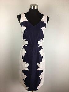Banana Republic Women Sheath Dress 6 S Navy Blue White Paisley Knee Length Linen