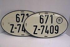 MATCHING PAIR of 1960s 70s German Auto License Plates 671 Z-7409 Hauptzollamt