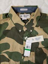 NEW - Penguin, Camouflage, Slim Fit, SS Button Shirt, Men's L. A040