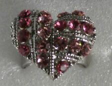 Pink Crystal Chubby Heart Ring Silver Plated size 8 - 9