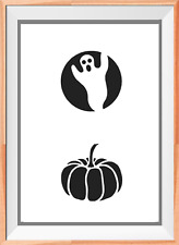 Pumpkin and Ghost Mylar Reusable Stencil Airbrush Painting Art Craft DIY home
